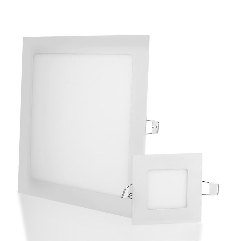 Panel de luz LED cuadrado ultradelgada 3W 6W 9W 12W 15W 18W controlador incluido AC85-265V luz LED empotrada para iluminación interior