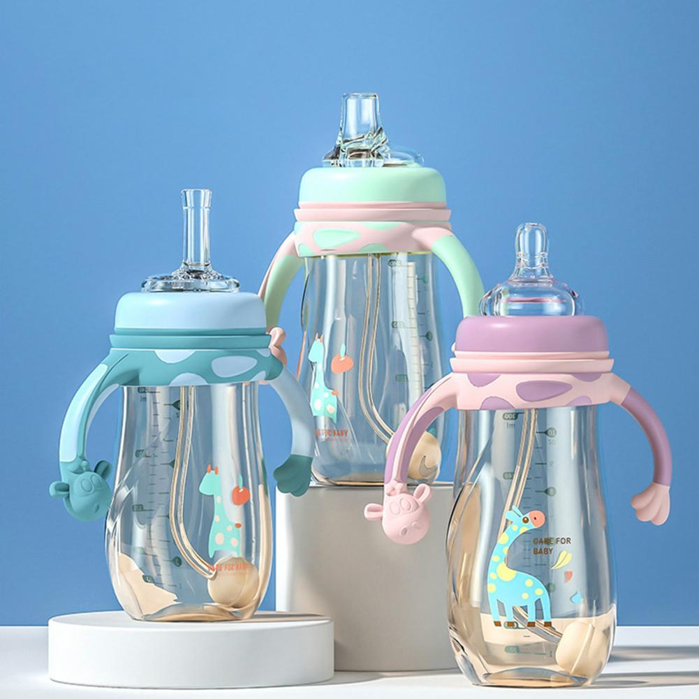 BPA Free 1 Set Eco-friendly Children Straw Water Bottle PPSU Baby Bottle Dust-proof for Outing