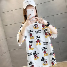 2020 t-shirt femmes été dessin animé Mickey coton col rond Harajuku Vintage grande taille hauts amis Kawaii coréen Streetwear