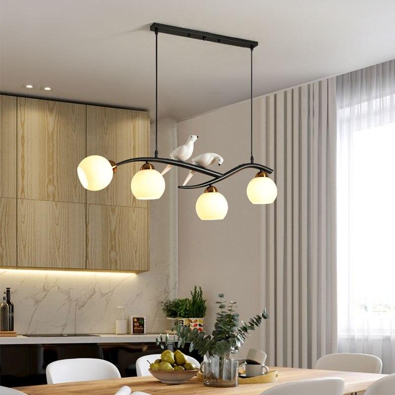 Lámpara de techo led para restaurante, lámpara de comedor moderna sencilla con pájaro de estilo nórdico, lámpara de mesa creativa para comedor, nueva luz de techo 2020