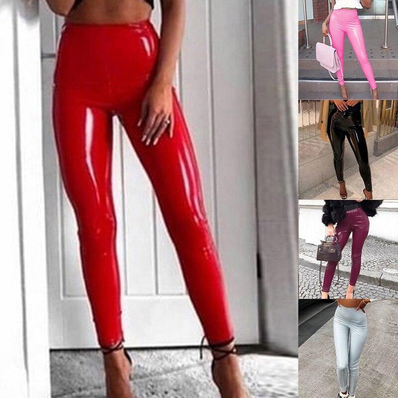 Pantalones suaves de piel sintética, Leggings de moda, pantalones de entrega rápida para mujer, pantalones sexis negros de cintura alta, elásticos brillantes húmedos