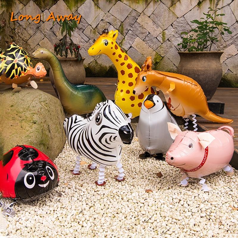 Globos de helio con forma de Animal que camina, bonito gato, perro, Panda, dinosaurio, Tigre, mascota, regalo de Navidad, fiesta de cumpleaños para niños