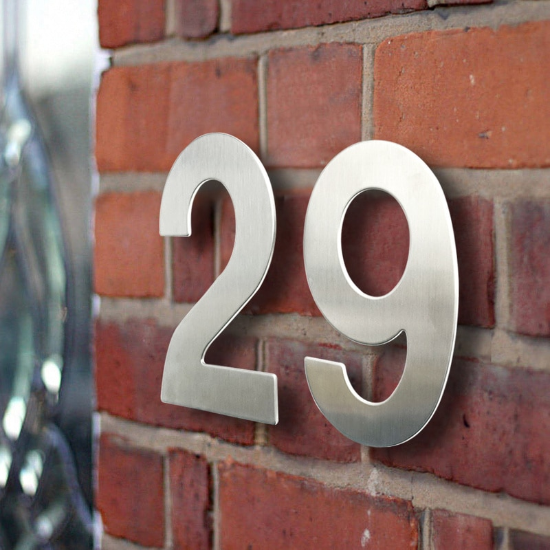 Huisnummer-señal de número de Casa de 15cm, 6 pulgadas, Plata para exteriores,...