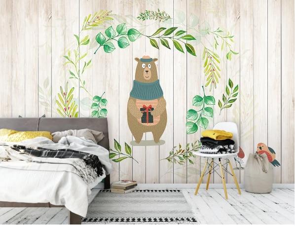 Hoja Verde Nórdica oso papel tapiz animales pared de ladrillo Mural para niños dormitorio lienzo tela de seda contacto papel cartón 3D arte pared