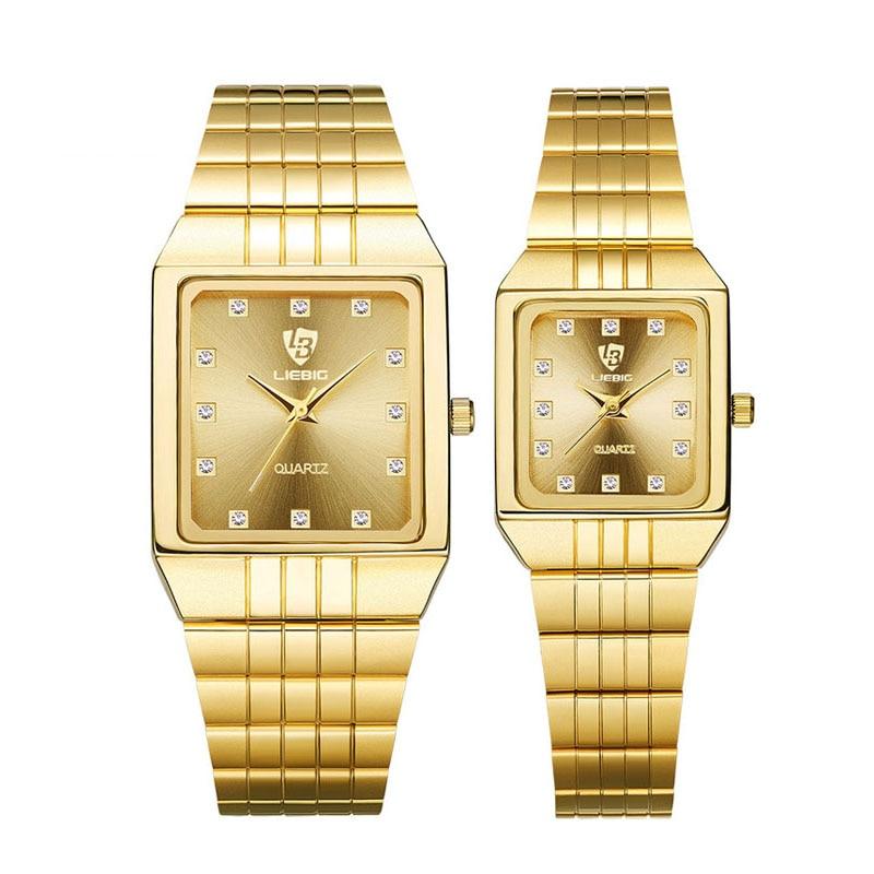 10pcs/lot LIEBIG Gold Quartz Watch For Lovers Luxury Brand Coupler Wristwatch Golden Fashion Female Male Clock  8808