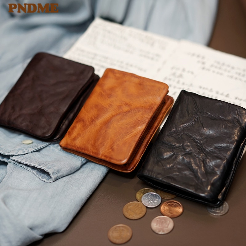 PNDME الأزياء خمر جلد طبيعي الرجال المرأة مطوي محافظ بسيطة عارضة الفاخرة الطبيعي الحقيقي جلد البقر مراهقون عملة محفظة