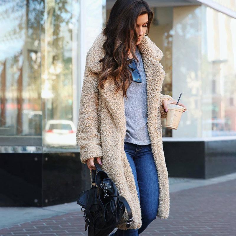 الخريف الشتاء سترة معطف الإناث 2020 بلون الصوف معاطف ملابس خارجية غير رسمية الدافئة لينة سترة فرو سترات الملابس النسائية