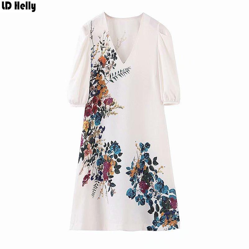 LD Helly 2019 mujeres elegante Floral impreso Mini vestido moda bolsillos cuello pico media manga Vestidos Mujer