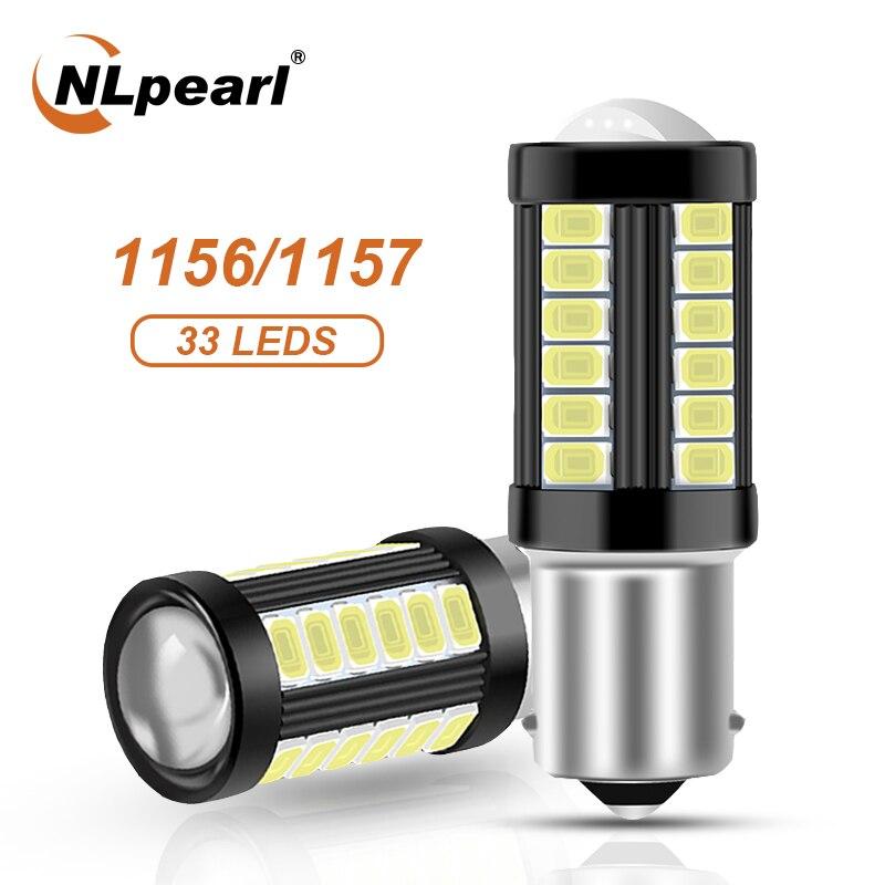 Nlpearl 2x lâmpada de sinal 1156 ba15s p21w py21w luzes de sinal de volta do carro 12-24v 33smd 5730 1157 bay15d led p21/5w lâmpada de freio reversa