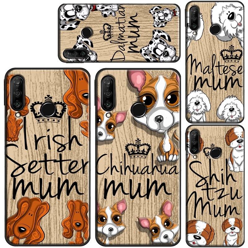 Welsh Terrier Cockapoo dálmata mamá perro para Huawei P30 Lite P10 P40 P20 Pro P inteligente 2019 Z Mate 30 Pro 10 20 Lite funda