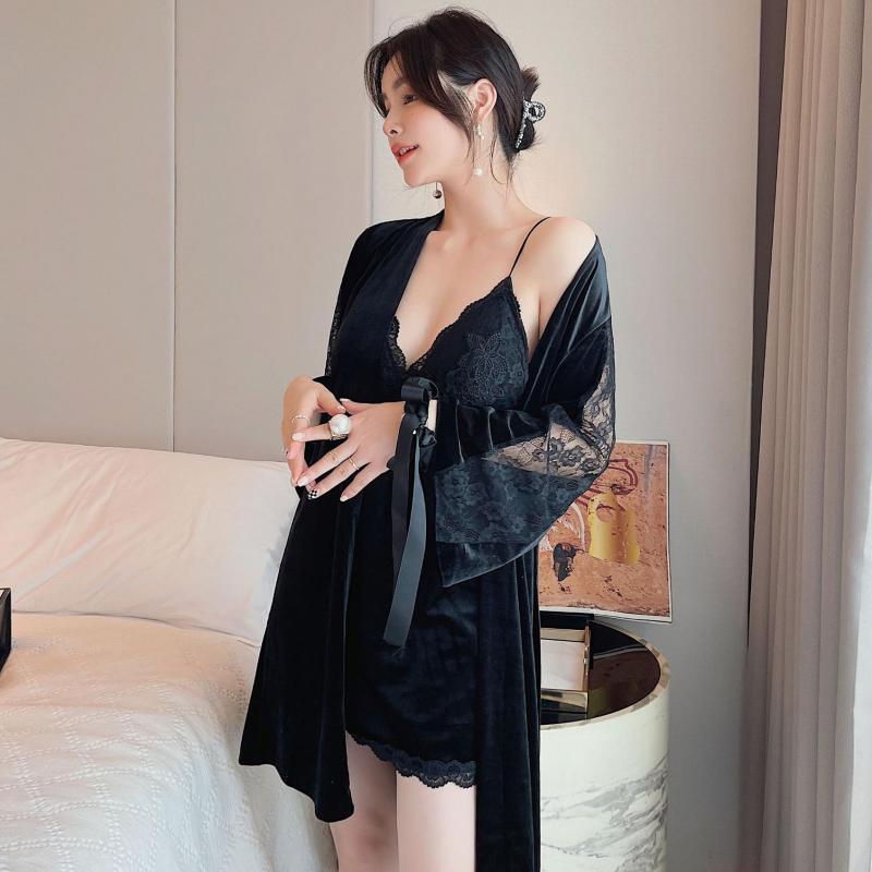 أسود كيمونو رداء مجموعة النساء القطيفة Homewear Bathrobe ثوب غير رسمي المرقعة ملابس خاصة 2 قطعة ملابس المنزل الخريف جديد ملابس النوم