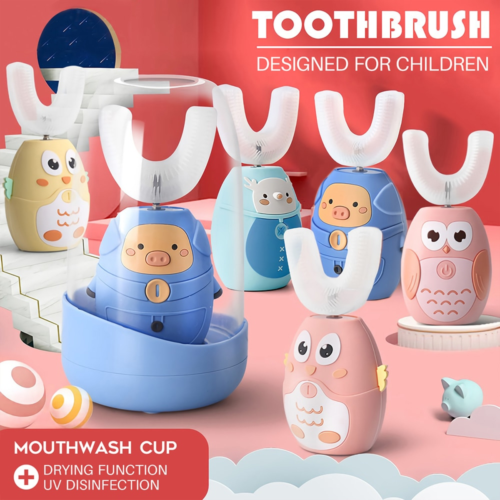 360° Sonic Electric Toothbrush Children Intelligent Automatic Brush Head Kids USB Drying U Shape Silicone UV Sterilization