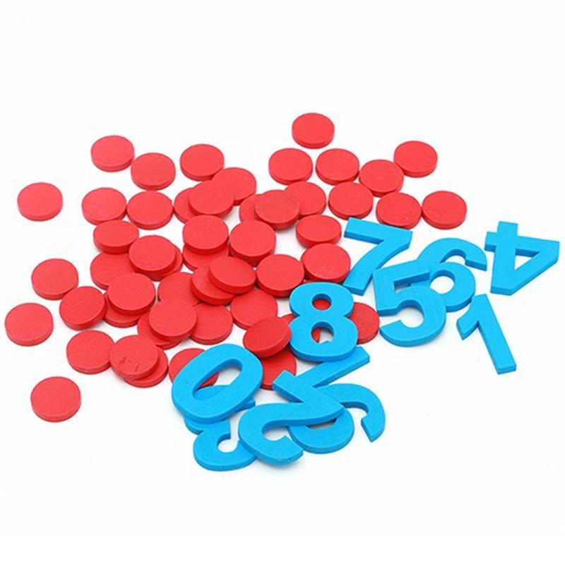 10pcs Blue Digital + 55pcs Red Counter Montessori Baby Number Figure Stick Mathematics Wooden Educational Kids Toys For Children