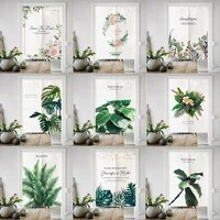 japanese noren half kitchen bedroom door curtains nordic natural plant patterns linen fabric customized partition curtains