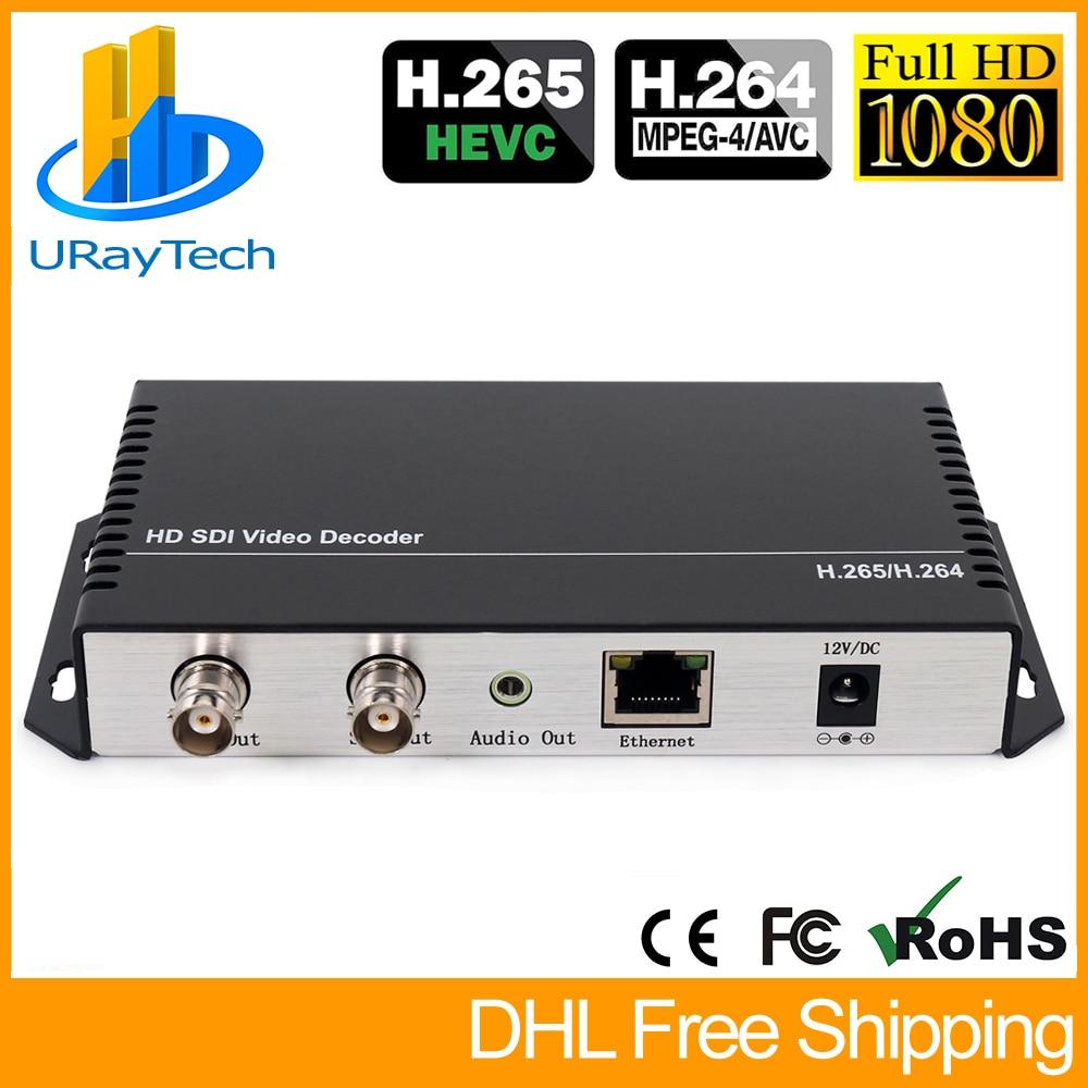 HD 3G SDI décodeur IP Streaming vers HD-SDI 3G-SDI décodeur Audio vidéo H.265 H.264 HTTP RTSP RTMP UDP HLS vers SDI convertisseur