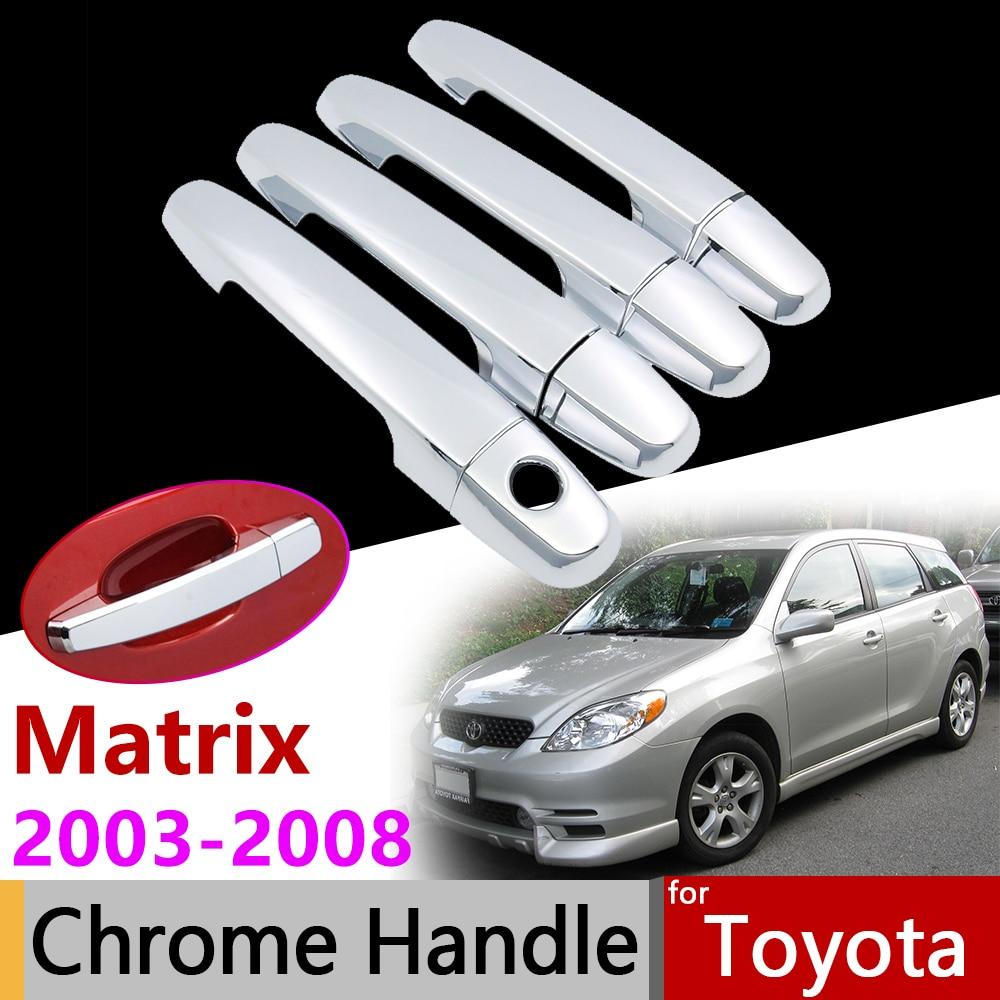 Accesorios de coche cubierta de manija cromada para Toyota Matrix E130 2003 ~ 2008 XR XRS 2004 2005 2006 2007 Set de pegatinas de 4 puertas