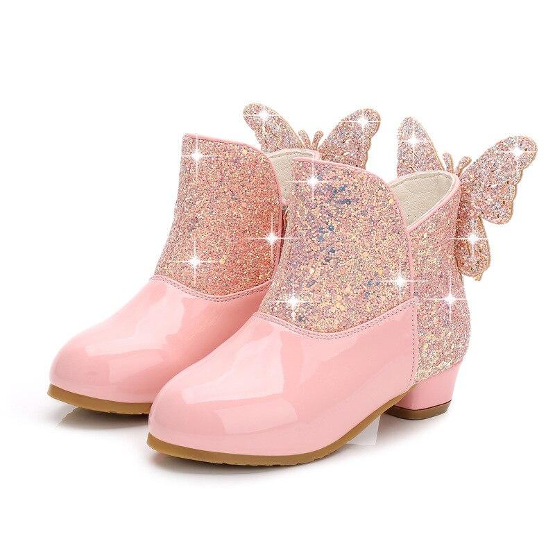 inverno para meninas botas de couro com saltos altos veludo para manter quente 3