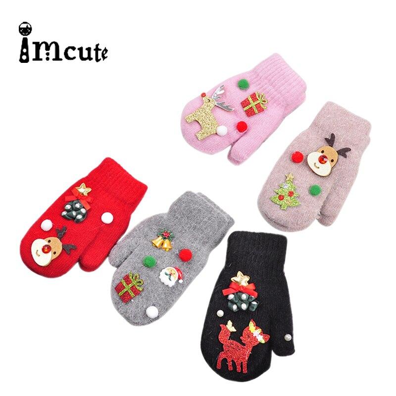 Imcute Navidad bebé guantes niños guantes con dedos completos niño invierno calentador guantes niña niño Navidad regalos infantil lana mitones 3-10T