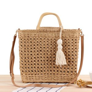 Summer Straw Bags Handmade Basket Beach Bag Raffia Rattan Woven Handbags Bohemian Casual Round Tote Bags For Holiday