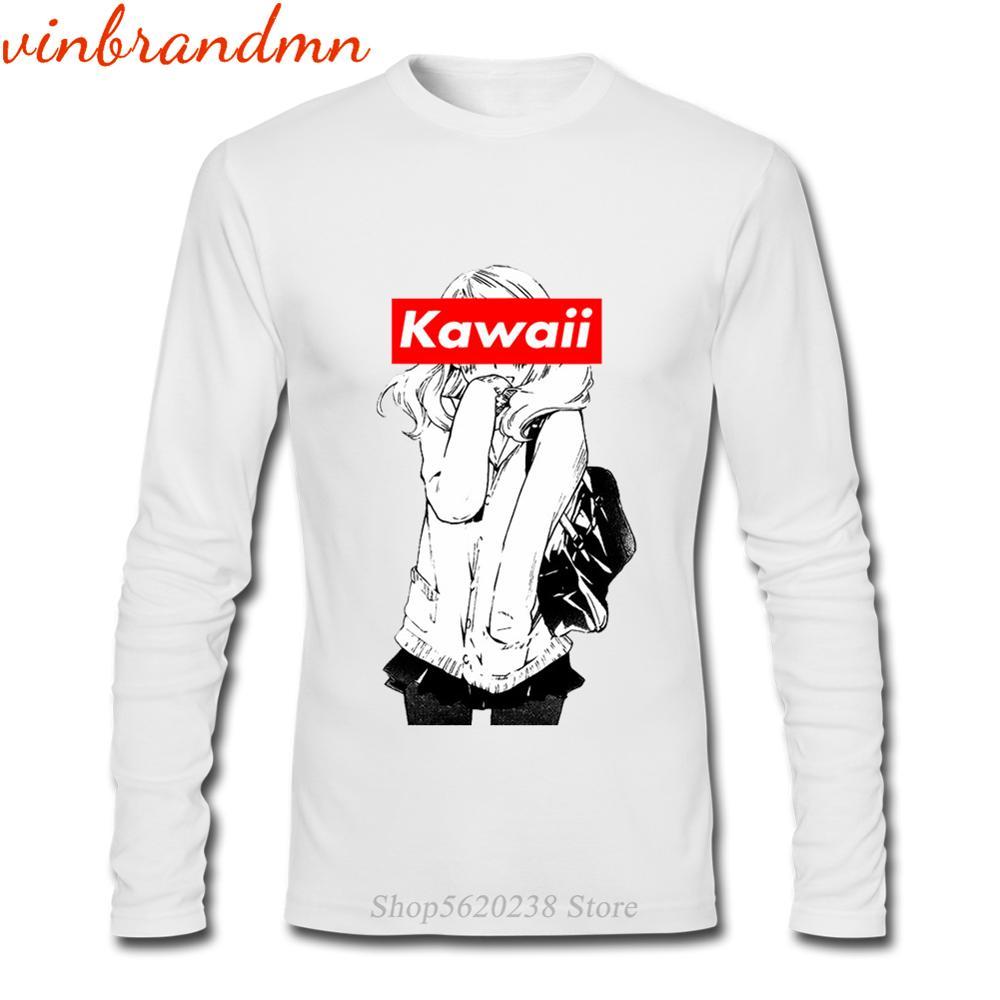 Camisetas de manga larga de Anime Kawaii Waifu para hombre, Camisetas 100%...