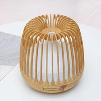 Birdcage Shape Wood Grain Aroma Humidifier Electric Air Diffuser Ultrasonic Smart Home Appliance Remote Control With Night Light