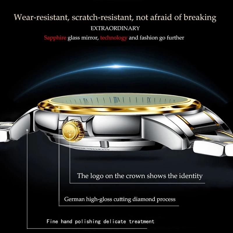 LIGE Original Brand Wrist Mens Watches Automatic Self-Wind Tungsten Steel Waterproof Business Mechanical Watch Relogio Masculino enlarge
