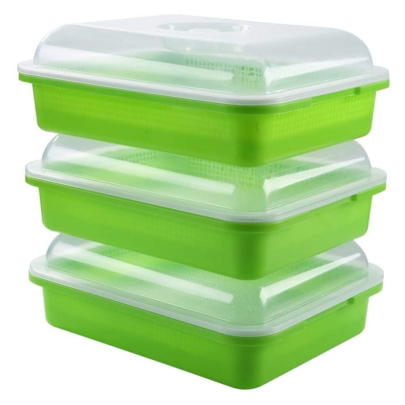 3-Pack Seed Sprouter Tray Soil-Free Big Capacity Healthy Wheatgr Grower Sprouting Container Kit with