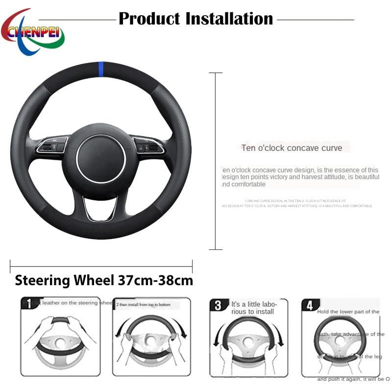 38cm Non-Slip Dreathable Suede steering wheel cover For Audi A4L Car Interior decoration accessories