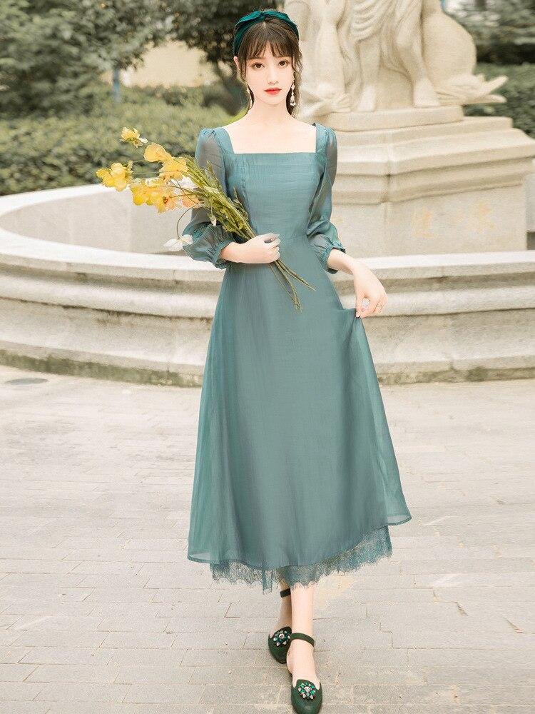 تحسين شيونغسام النساء الكبار أنيقة الطاووس الأزرق منتصف طول اللباس الصينية الجنية اليومية الملابس الكلاسيكية Dancewear DQL4374