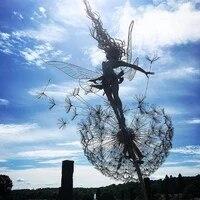 garden decorative fairies and dandelions dance together metal garden yard art decor lawn landscape sculpture pixies decoration