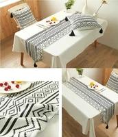 boho table runner tassel dining minimalist black white chenille holiday home wedding living room table decoration 33180cm 1pc