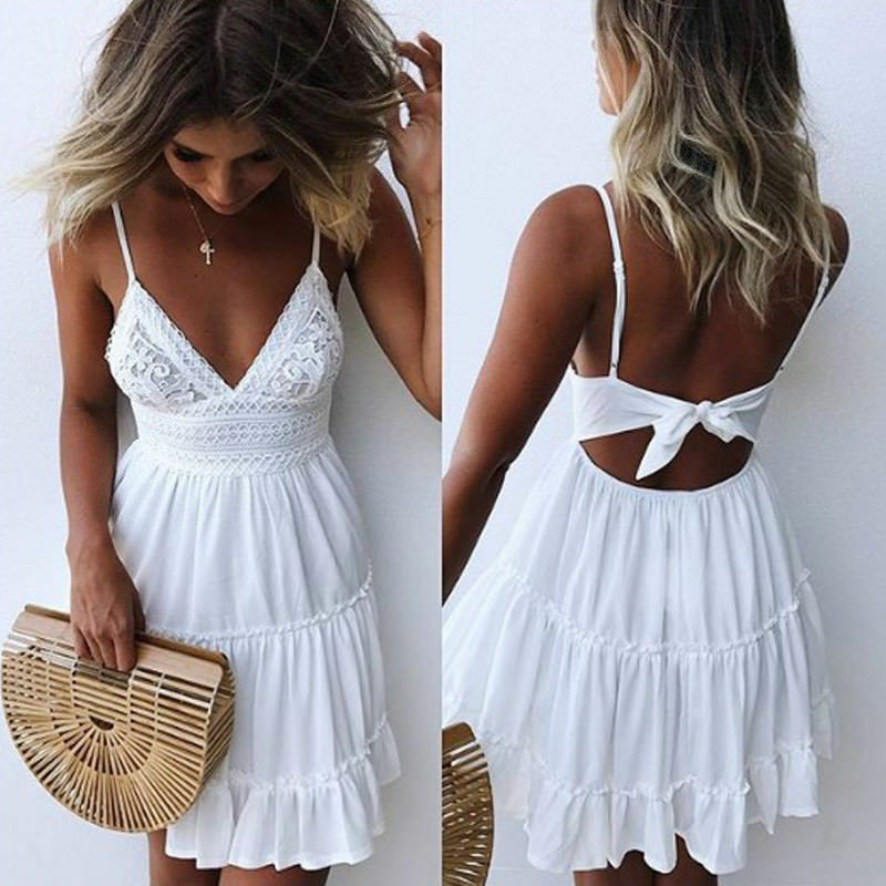 2020 Women Boho Mini Dress Summer Backless Layers Sweet Short Sexy Strap Lace V Neck High Waist Party Beach Dresses Sundress