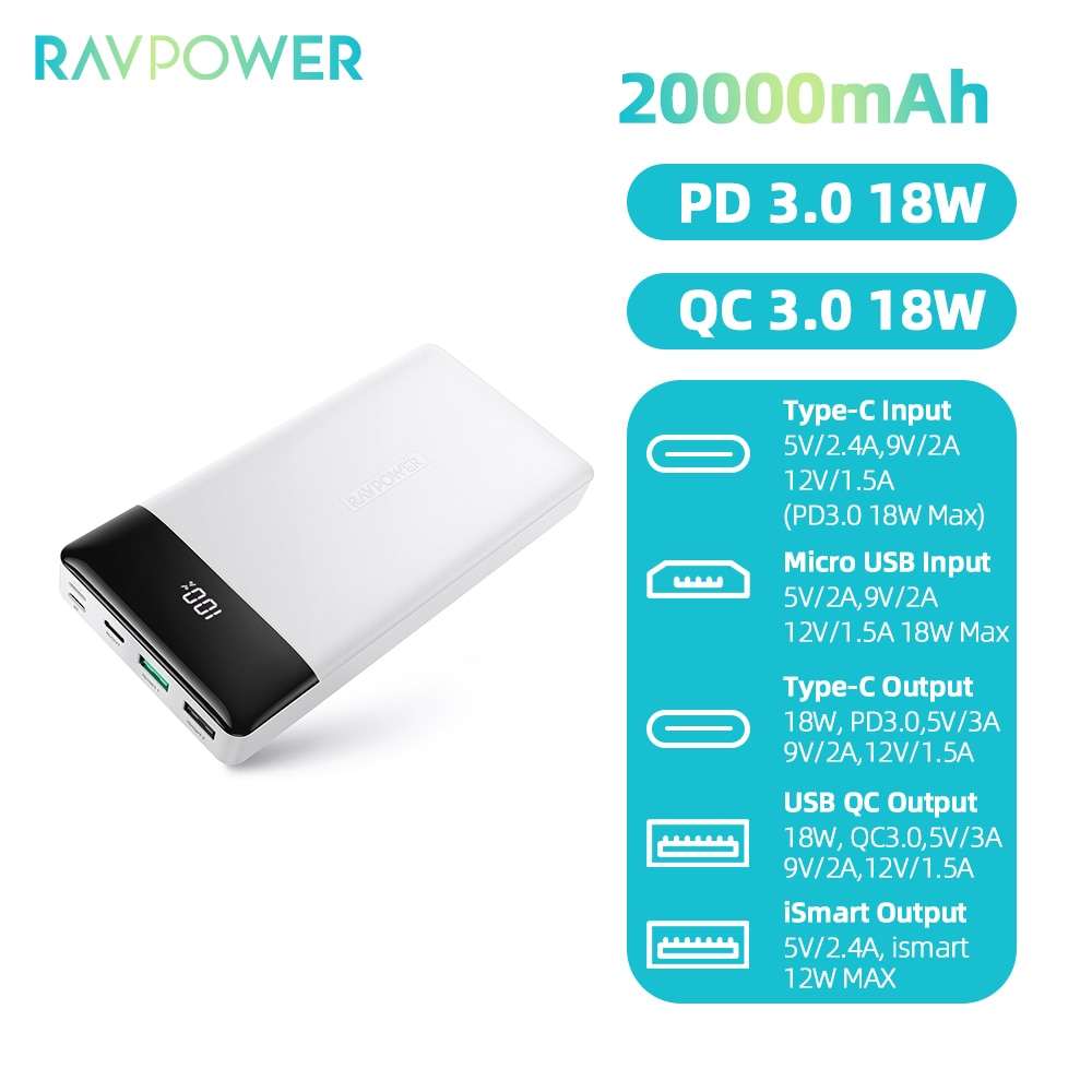 RAVPower 20000mAh USB-C PD 18W + QC3.0