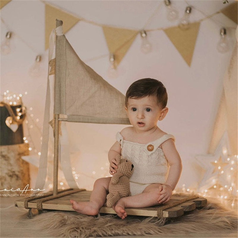 Wooden Raft Newborn Photography Props Creative Baby Photo Pose Infant Shooting High Quality Wood Accessories Studio Retro Style enlarge