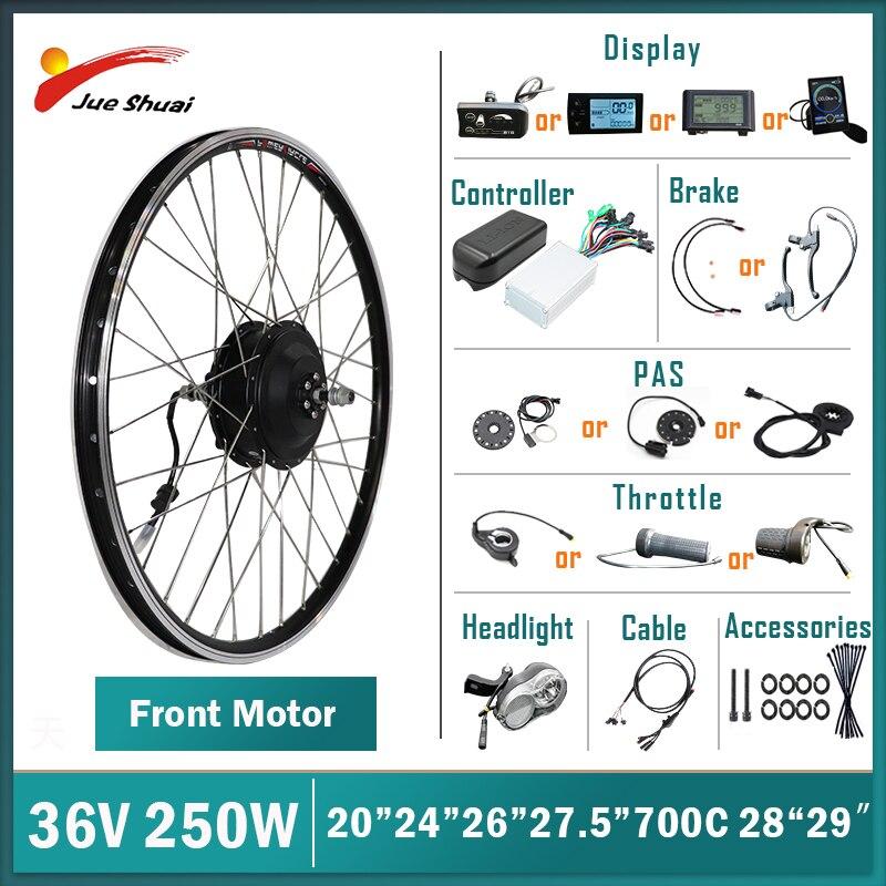 Kit de conversión de bicicleta eléctrica, Motor sin escobillas delantero de 36V...