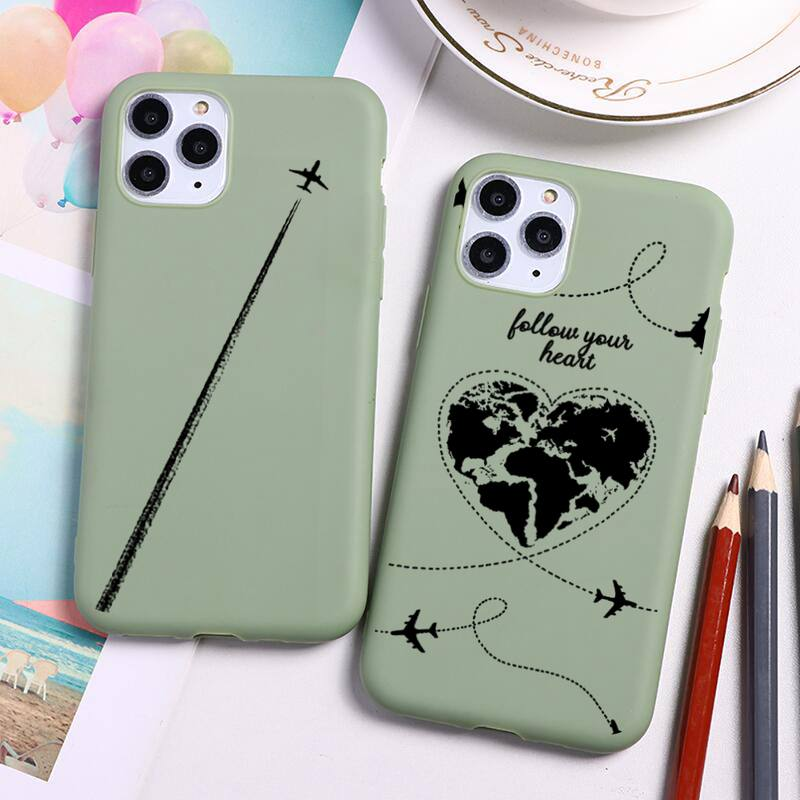 World Map Travel Phone Case For iphone 12 11 Pro Max Mini XS 8 7 6 6S Plus X SE 2020 XR Candy green Silicone cover