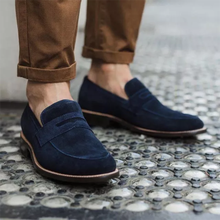 Men's High-end Navy Blue Suede Simple Slip-on Pointed Toe Low-heel Comfortable Fashionable Casual Al