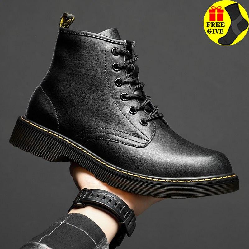 Ботинки мужские из мягкой натуральной кожи, повседневная обувь для вождения, удобные городские офисные повседневные прогулочные ботинки, м...