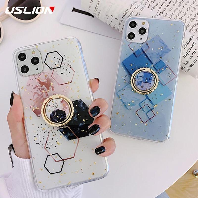 Funda de teléfono de mármol geométrica de hoja de oro de USLION para iPhone 11 Pro Max 6 6s 7 8 Plus X XS XR Xs Max TPU suave con cubierta de anillo de dedo
