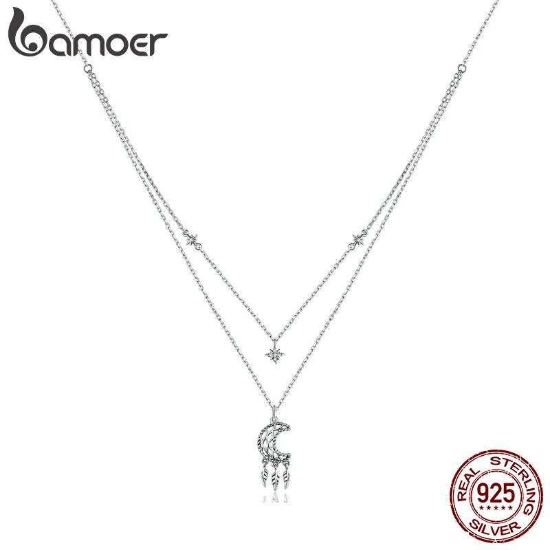 Bamoer 925 فضة واضح تشيكوسلوفاكيا القمر زاك قلادة قلادة للنساء هدايا الأسرة غرامة مجوهرات قلادة BSN201