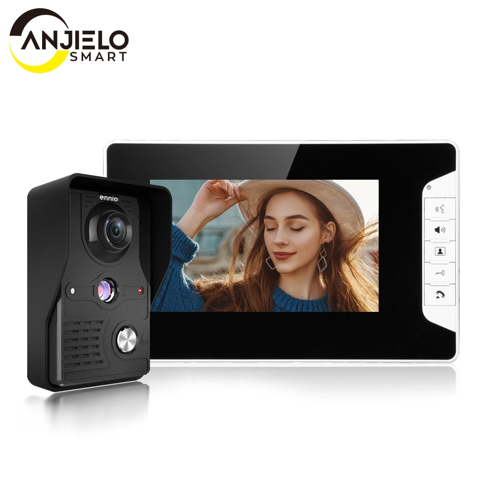 Visual 7'' TFT LCD Wired Video Door Phone Intercom Entry System Waterproof Camera with Infrared Support Unlock For Home Security