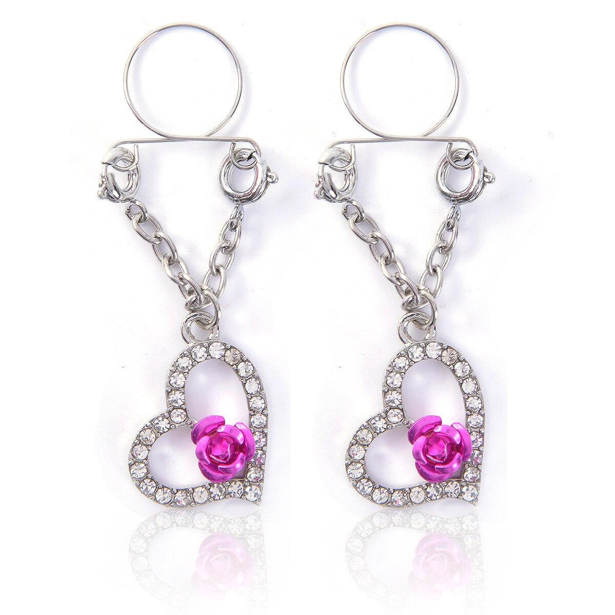 1 par de anillos de pecho de acero inoxidable sección de explosión colgante de corazón Rosa anillo de pecho falso Piercing de pezón ajustable joyería