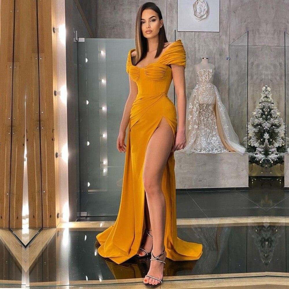 فساتين سهرة طويلة أنيقة عالية الجانب سبليت مثير سيدة رسمية حفلة موسيقية فستان قصير الأكمام حفلة الحدث YSAN1180