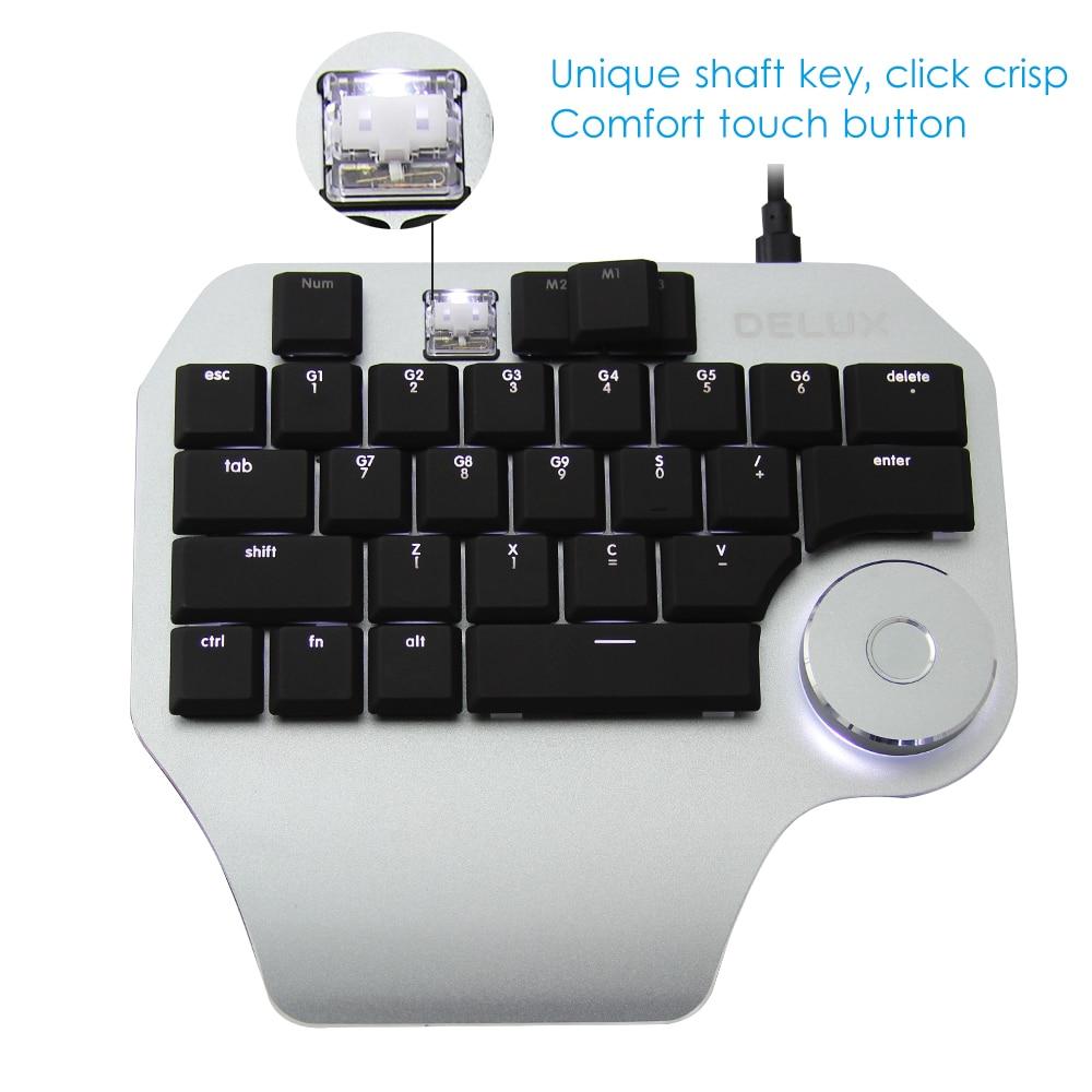 Delux T11 Designer Wired Keyboard Ergonomic Single Hand Keyboard Professinal PC Gamer Keypad with Smart Dial Customized Keycap enlarge