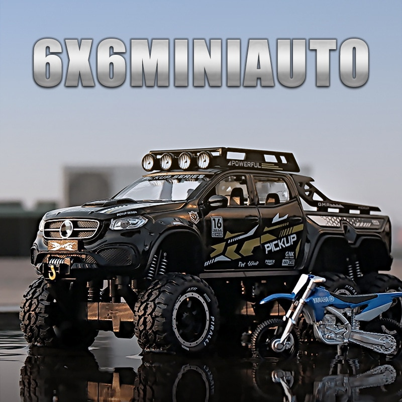 1:28 XCLASS EXY 6X6 Pickup Tyre Vehicle Alloy Car Diecasts & Toy Vehicles Car Model Off-Road Vehicle Car Toys For Children Gift