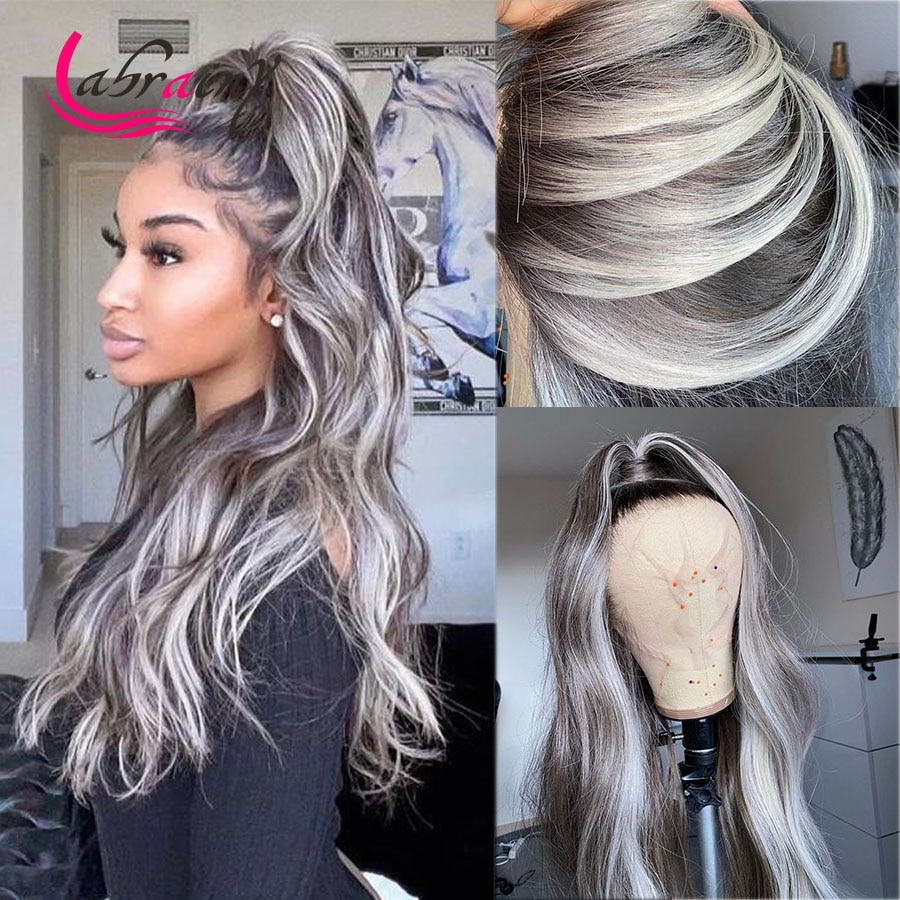 613 блестящие серые HD прозрачные фронтальные парики из человеческих волос с эффектом омбре блонд полноцветный волнистый парик предваритель...