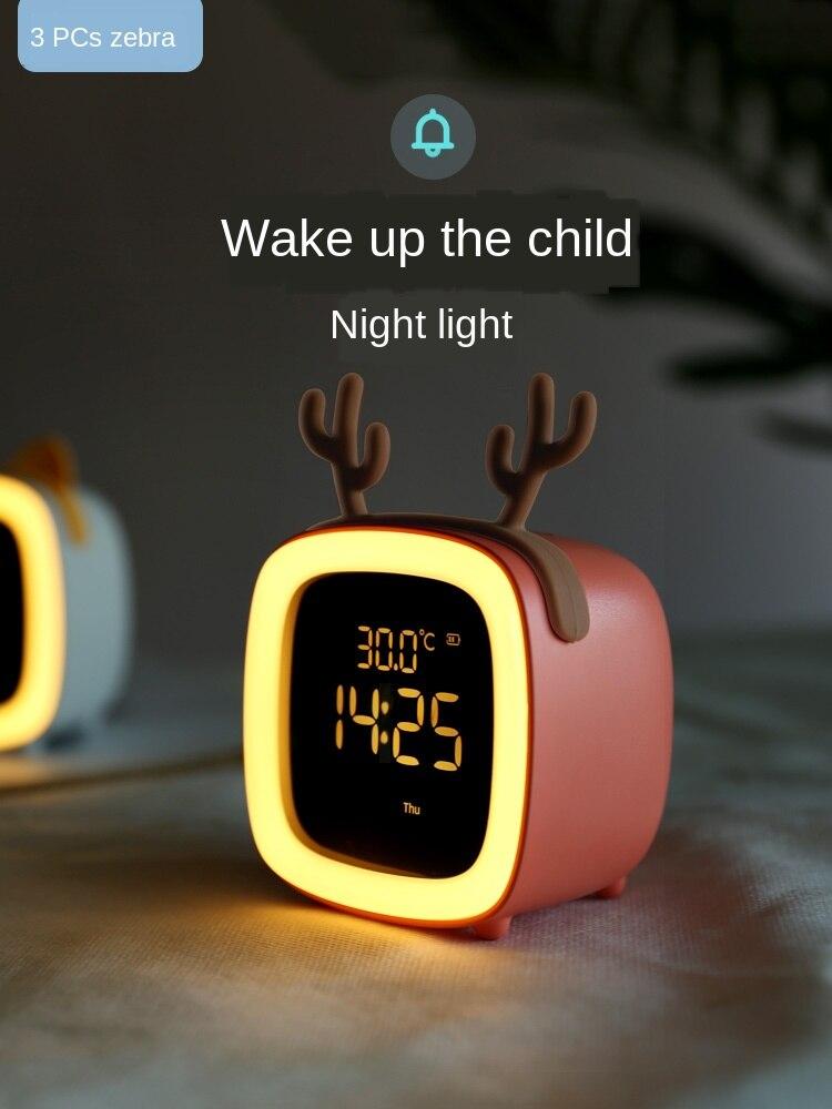 ضوء ليلي لغرفة نوم الأطفال مع ساعة وساعة منبه مدمجة متعددة الوظائف وقابلة لإعادة الشحن