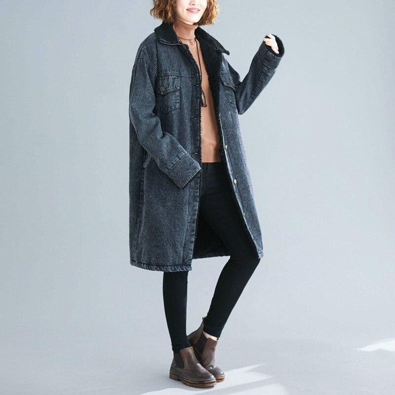 2020 New Retro Large Size Women's Long Cotton Clothing Women Loose Plus Velvet Warm Denim Jacket Autumn Winter Parka Coats N1090