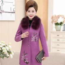 2020 mode laine manteau femme automne hiver femmes col de fourrure broderie florale manteaux grande taille femmes vêtements Casaco Feminino