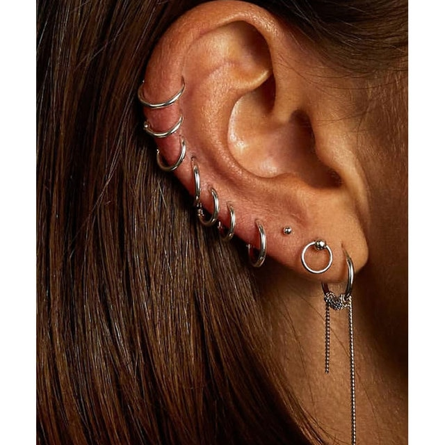 6pcs/lot New Simple Design Metal Circle Small Hoop Earrings For Women Girls Piercing Jewelry Geometric Round Helix Ear Accessory